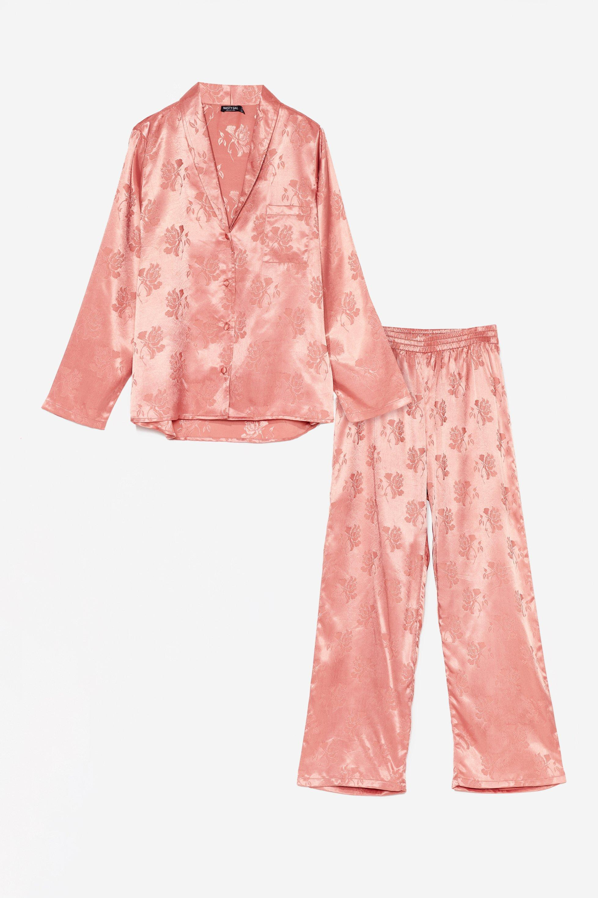 Plus Size Floral Satin Shirt + Trouser PJ Set 6