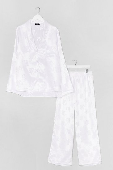 White Flower Time to Shine Satin Plus Pajama Pants Set