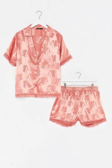 Rose Plus Size Floral Satin Lace Trim PJ Short Set