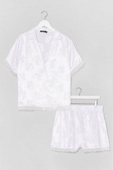 White Plus Size Floral Satin Lace Trim PJ Short Set
