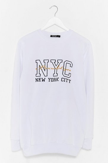White New York City Embroidered Graphic Sweatshirt