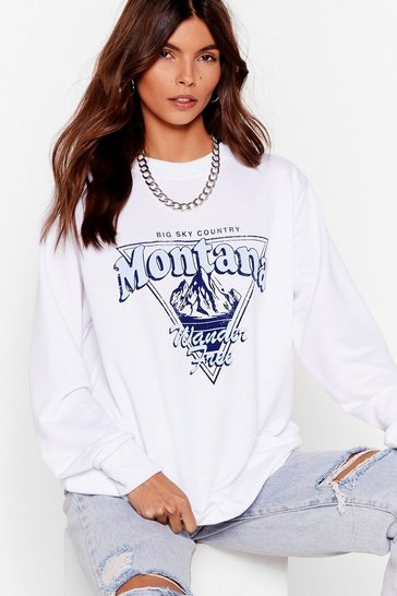 White Find Me in Montana Oversized Graphic Sweatshirt