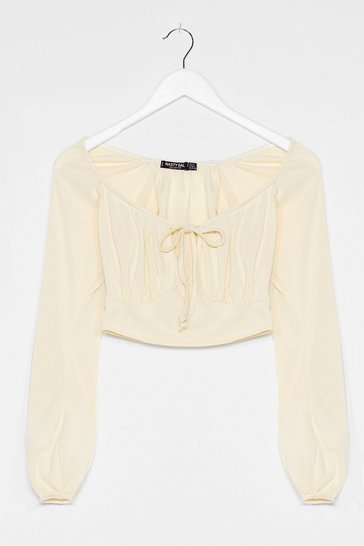 Off white Sweet On You Square Neck Crop Top