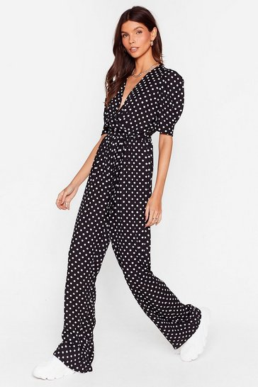 Black Polka Dot Belted Wide Leg Jumpsuit