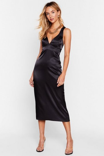 Black Took the Plunge Satin Midi Dress