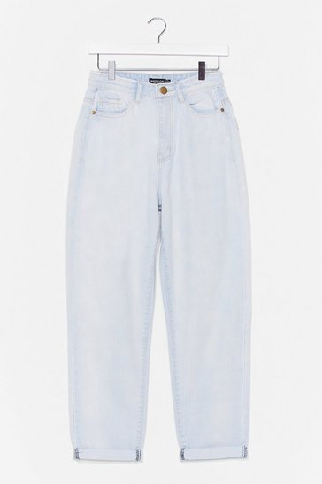 Light wash Let's Rock and Roll Hem Mom Jeans