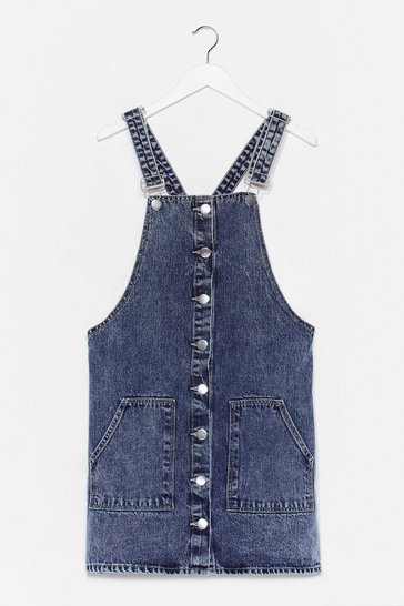 Washed blue What Do You Jean Denim Overall Mini Dress
