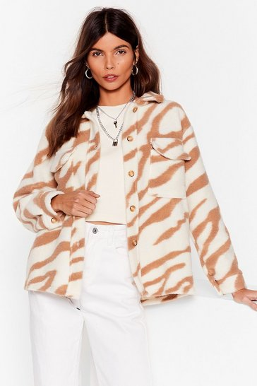 Brown Tiger Oversized Faux Wool Jacket