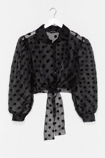 Black Sheer Spot Tie Front Shirt