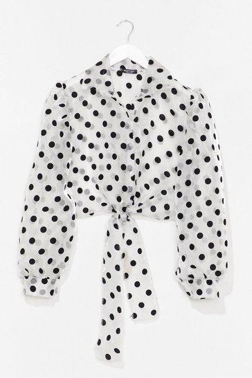 White Sheer Spot Tie Front Shirt