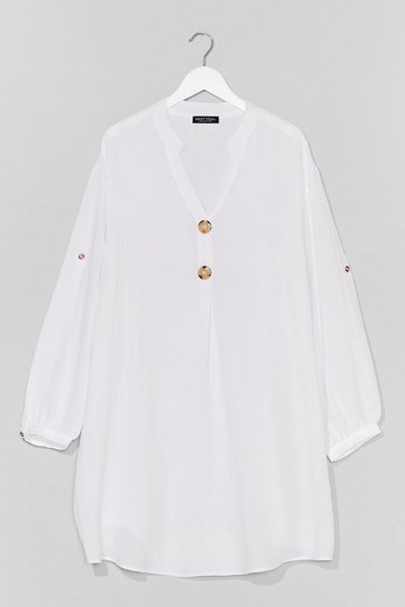White We Like It Shirty Plus Mini Dress