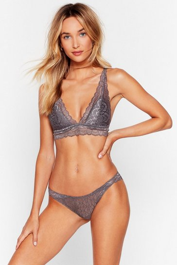 Grey Put Us In Our Lace Scalloped Bralette and Panty Set