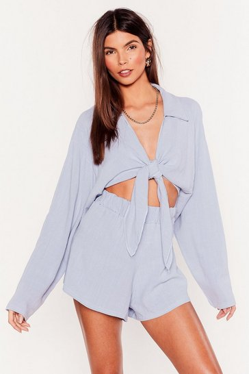 Pale blue Somewhere On a Beach Cropped Cover-Up Shirt
