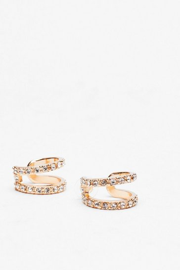 Gold Double Hoop Diamante Earrings