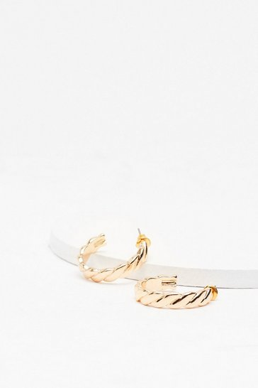 Gold We Rope You're Happy Hoop Earrings