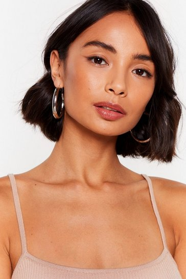 Silver Records On Loop Oversized Hoop Earrings
