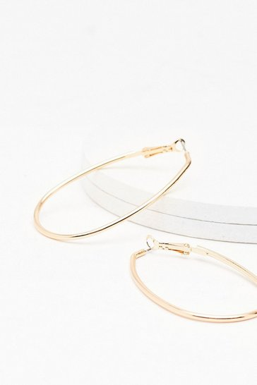 Gold Oval the Love Hoop Earrings