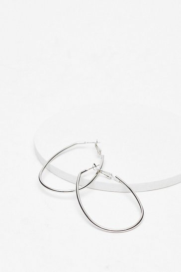 Silver Oval the Love Hoop Earrings