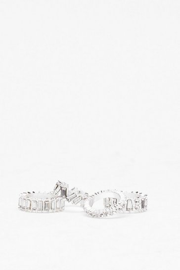 Silver Diamante 4-Pc Ring Set