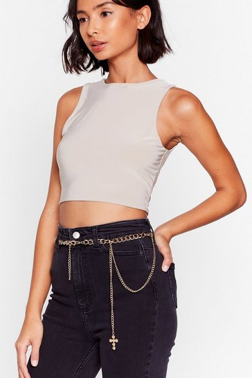 Gold Cross This Off Your List Curb Chain Drop Belt