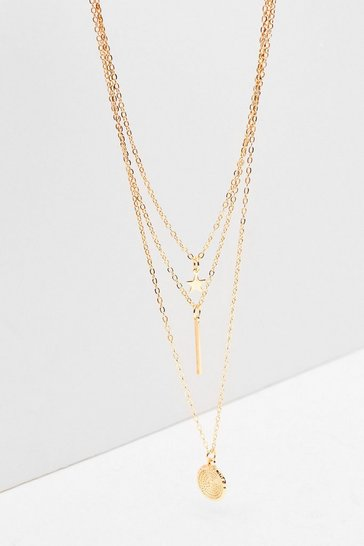 Gold Dainty Triple Layer Necklace