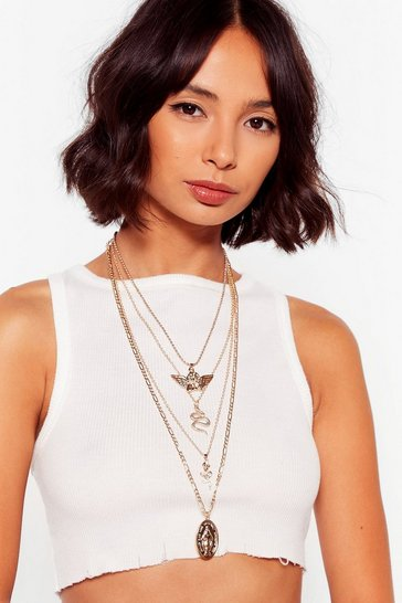 Gold We're Inde-pendant Layered Chain Necklace
