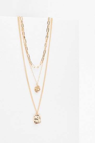 Gold Square the News Layered Charm Necklace