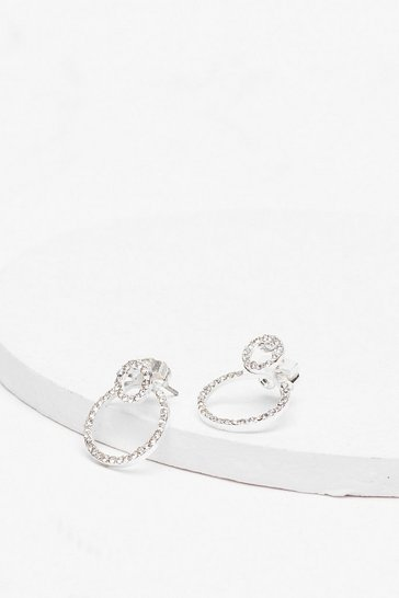 Silver Shine By Me Diamante Drop Hoop Earrings