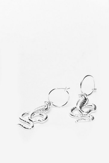 Silver Snake Drop Hoop Earrings
