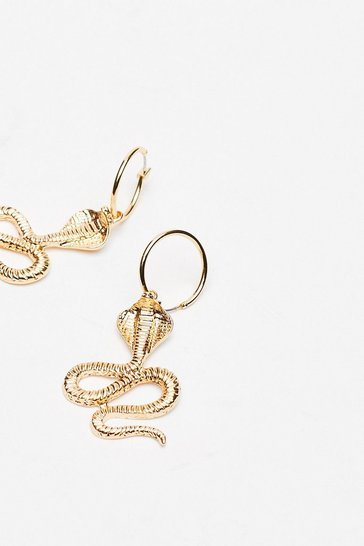 Gold Snake Drop Hoop Earrings