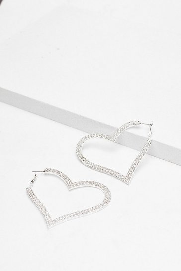 Silver Heart School Diamante Hoop Earrings