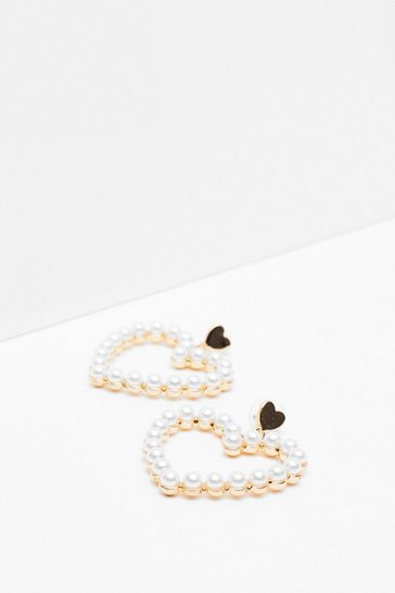 White Listen to Your Heart Pearl Drop Earrings