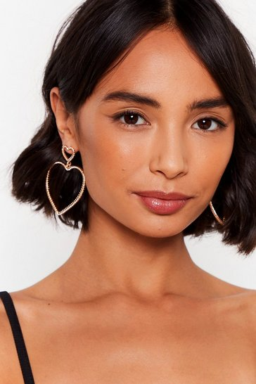 Gold Bless Your Heart Oversized Drop Earrings
