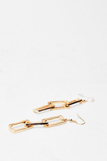 Gold Chained You Well Link Drop Earrings