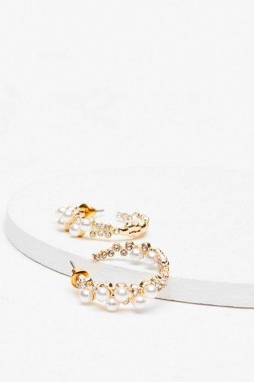 Gold Pearl Embellished Hoop Earrings