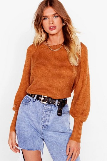 Camel Crew Are You Knitted Cropped Sweater