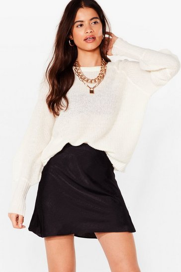Ivory Crew Are You Knitted Cropped Sweater