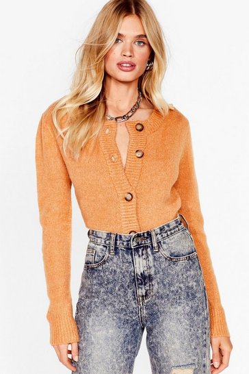 Camel Round Our Way Button-Down Knit Cardigan