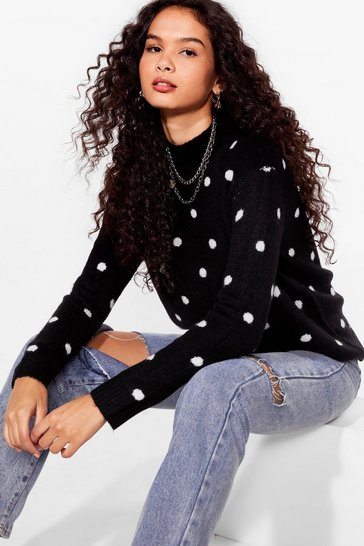 Black Spot Us Where You Want Us High Neck Knitted Sweater