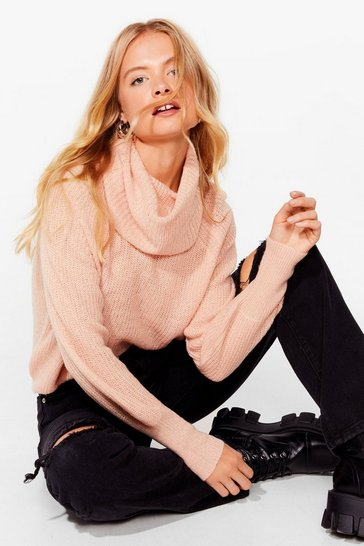 Blush Turtleneck Relaxed Knit Sweater