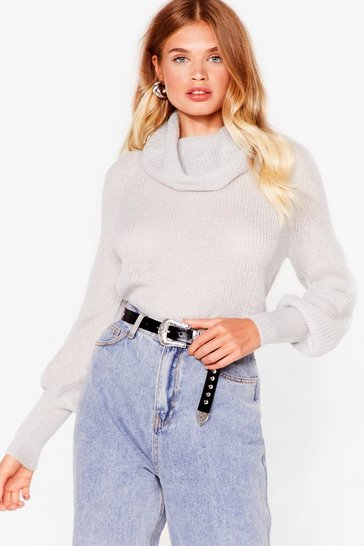 Light grey On a Roll Relaxed Knit Sweater