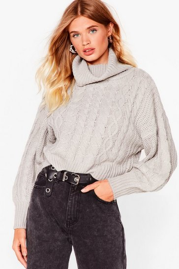 Grey What's Knit Gonna Be Turtleneck Sweater