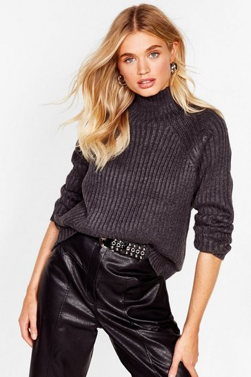 Dark grey Rib's Only Just Started Turtleneck Knit Sweater