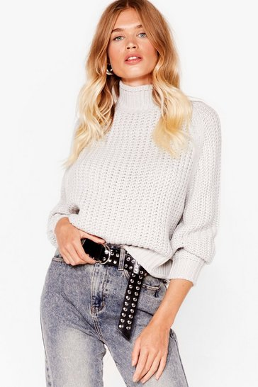 Ice blue Ribbed Knit Slouchy Turtleneck Jumper