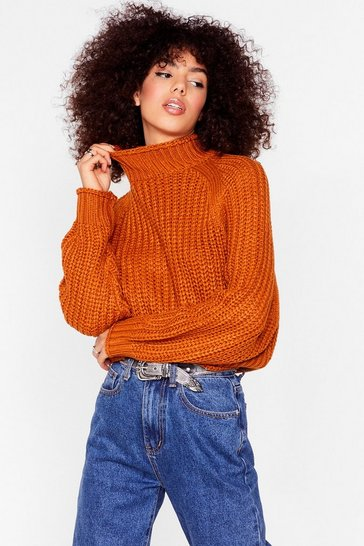 Turmeric Stay With Knit Ribbed Turtleneck Sweater