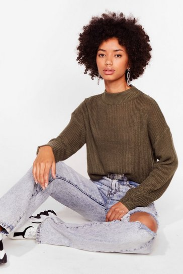 Khaki Had Knit Good Crew Neck Sweater