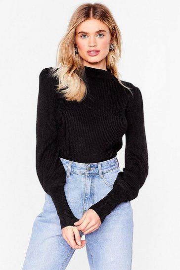Black Get Used to Rib Knitted Sweater