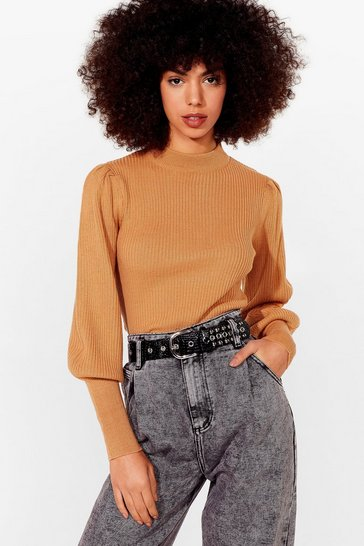 Camel Get Used to Rib Knitted Sweater