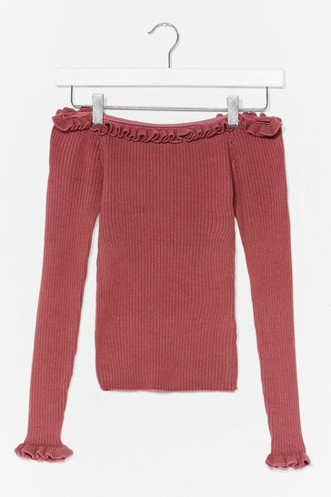 Rose Frill Ribbed Bardot Knit Top