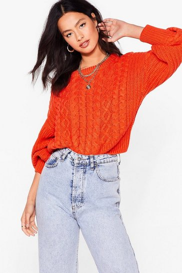 Orange Cable Talk Relaxed Knitted Sweater